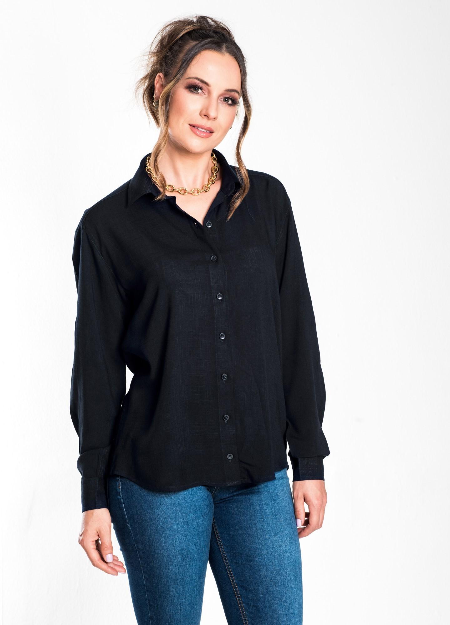 Camisa Feminina Linho Preta