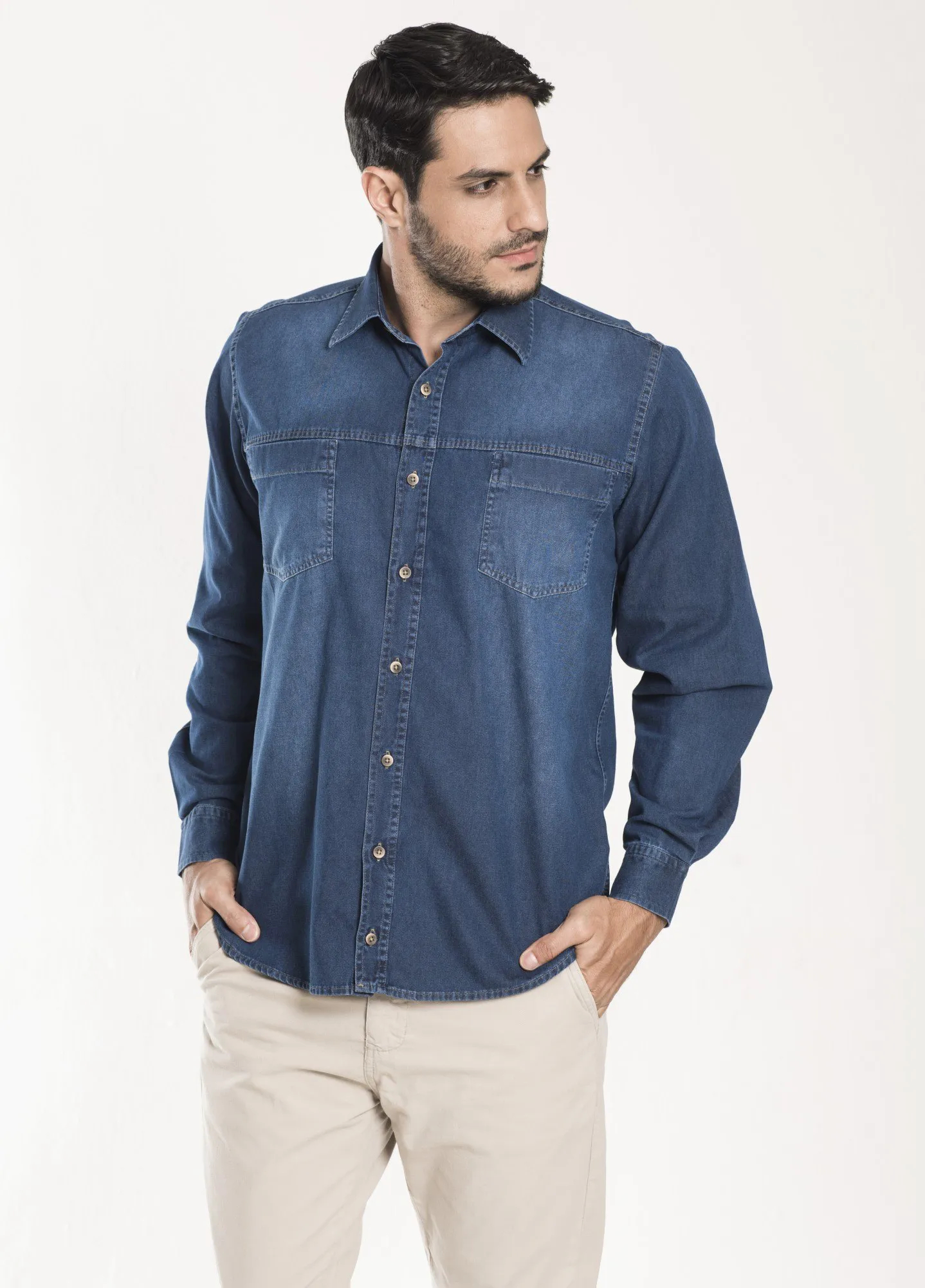 Camisa Jeans Masculina Tradicional