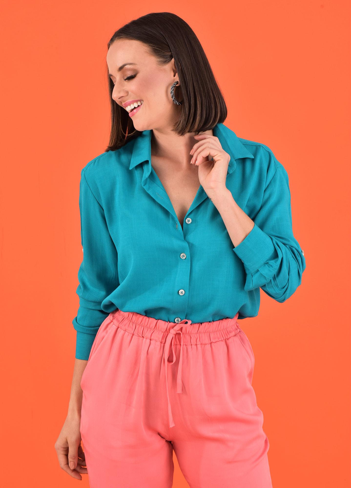 Camisa Oversized Feminina Viscolinho Aqua