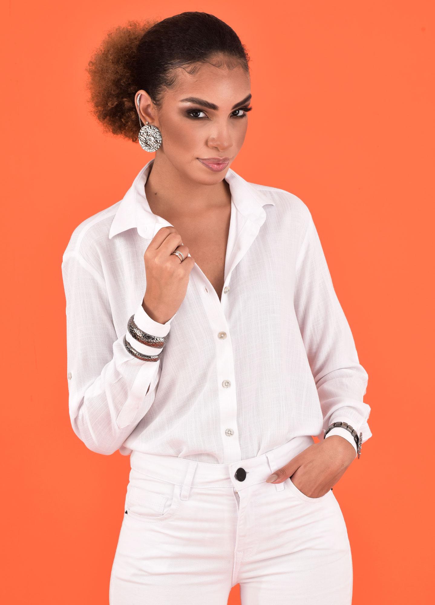 Camisa Oversized Feminina Viscolinho Branca