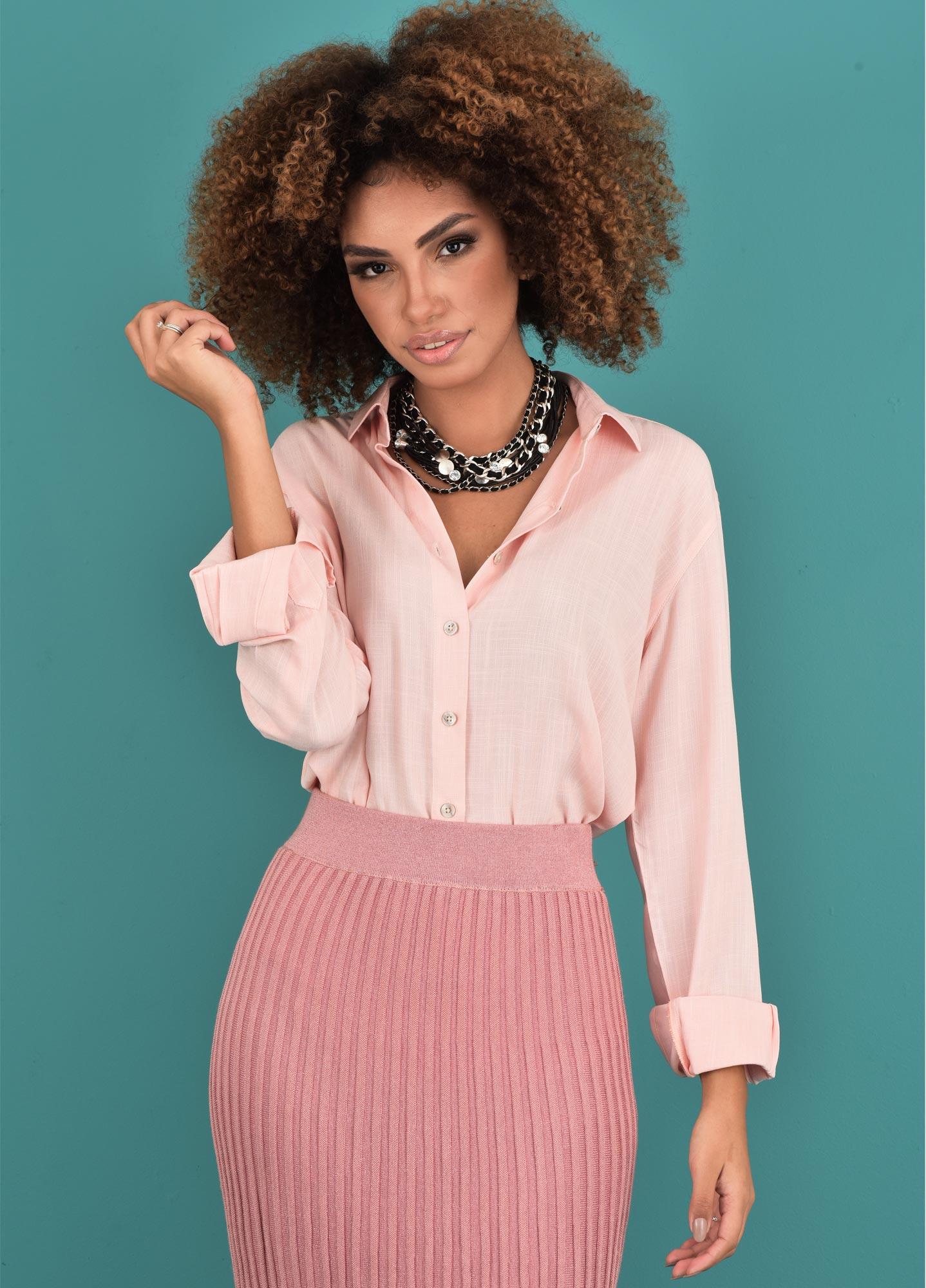 Camisa Oversized Feminina Viscolinho Peach