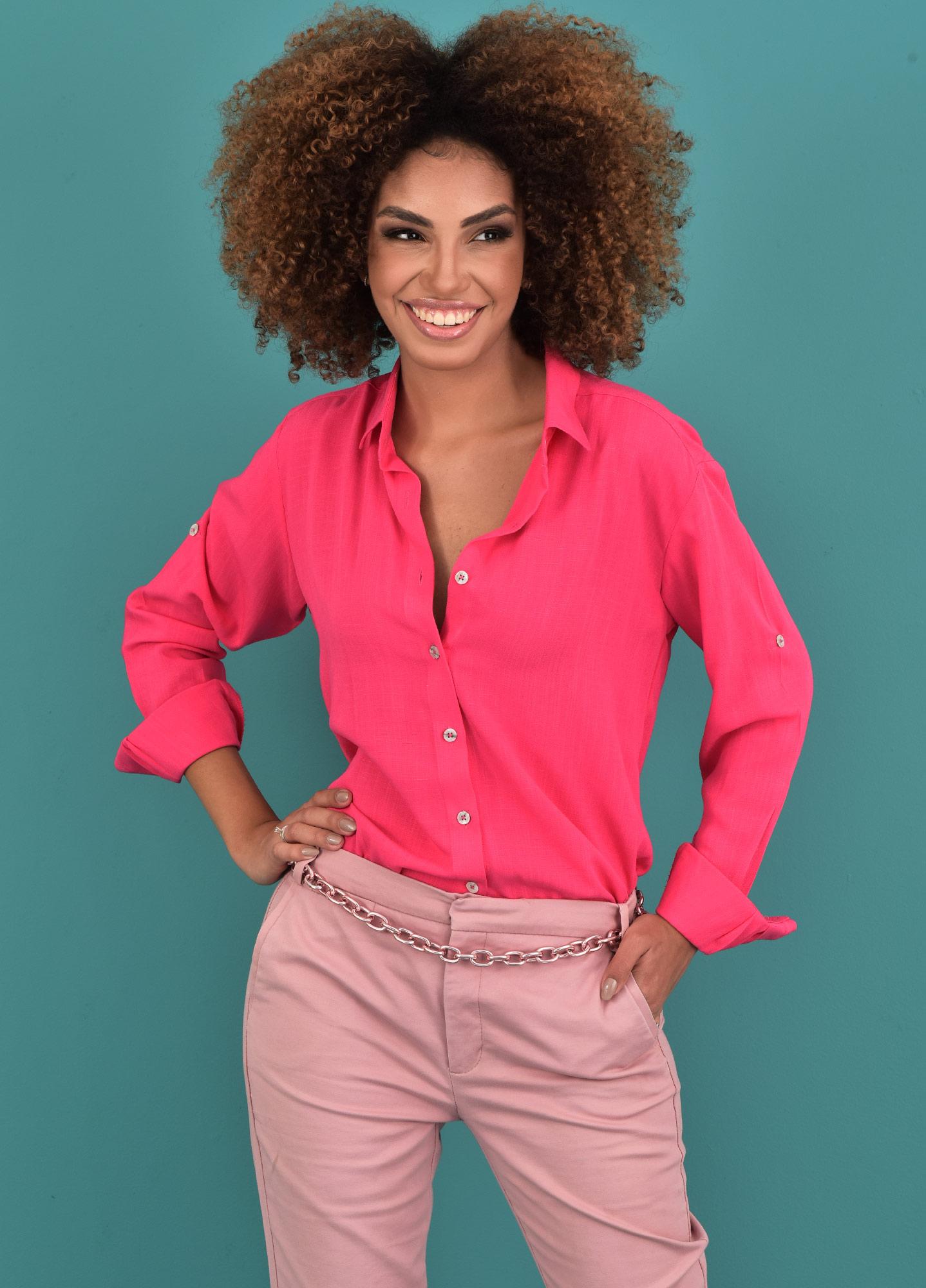 Camisa Oversized Feminina Viscolinho Pink