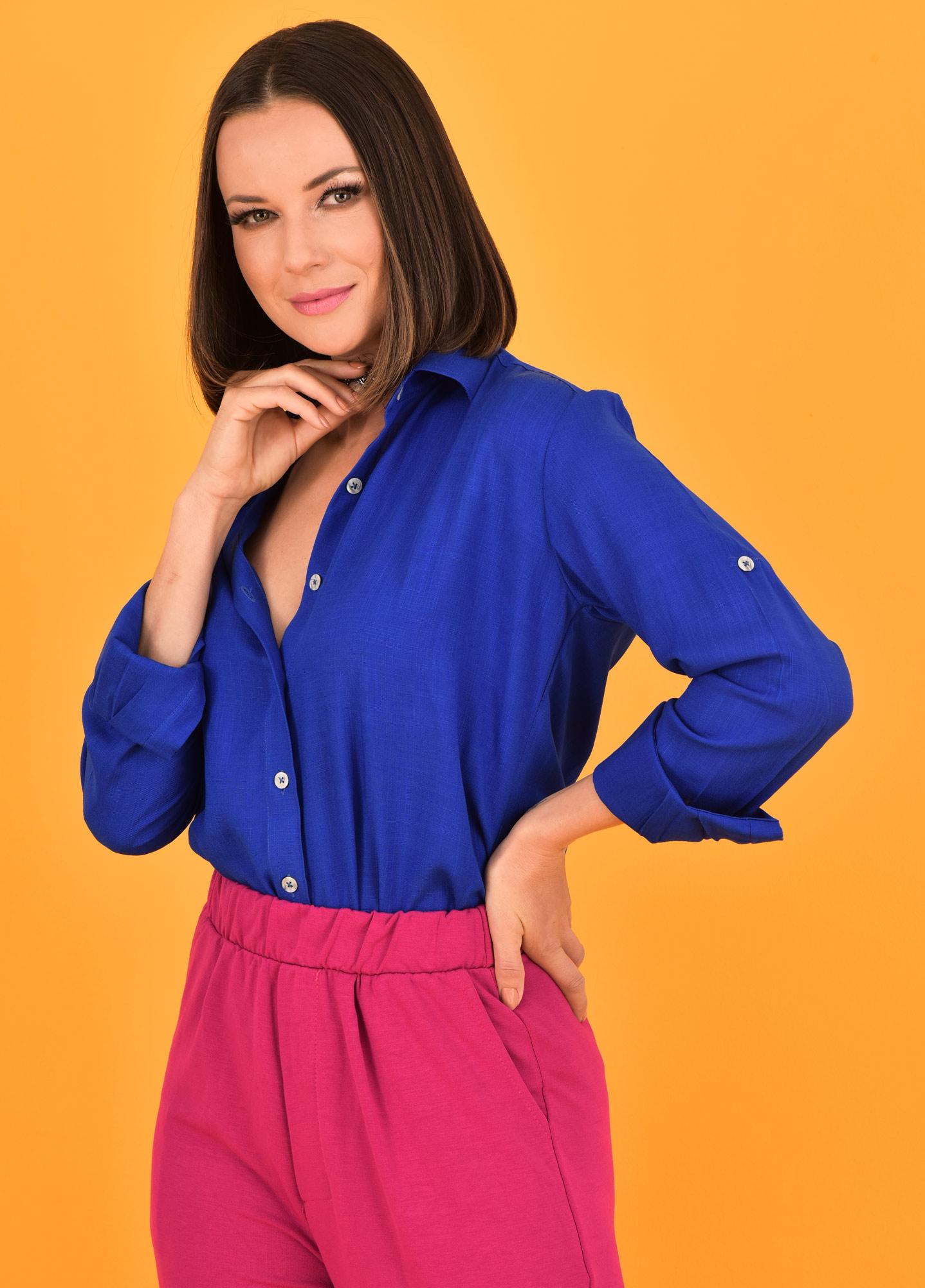 Camisa Oversized Feminina Viscolinho Royal