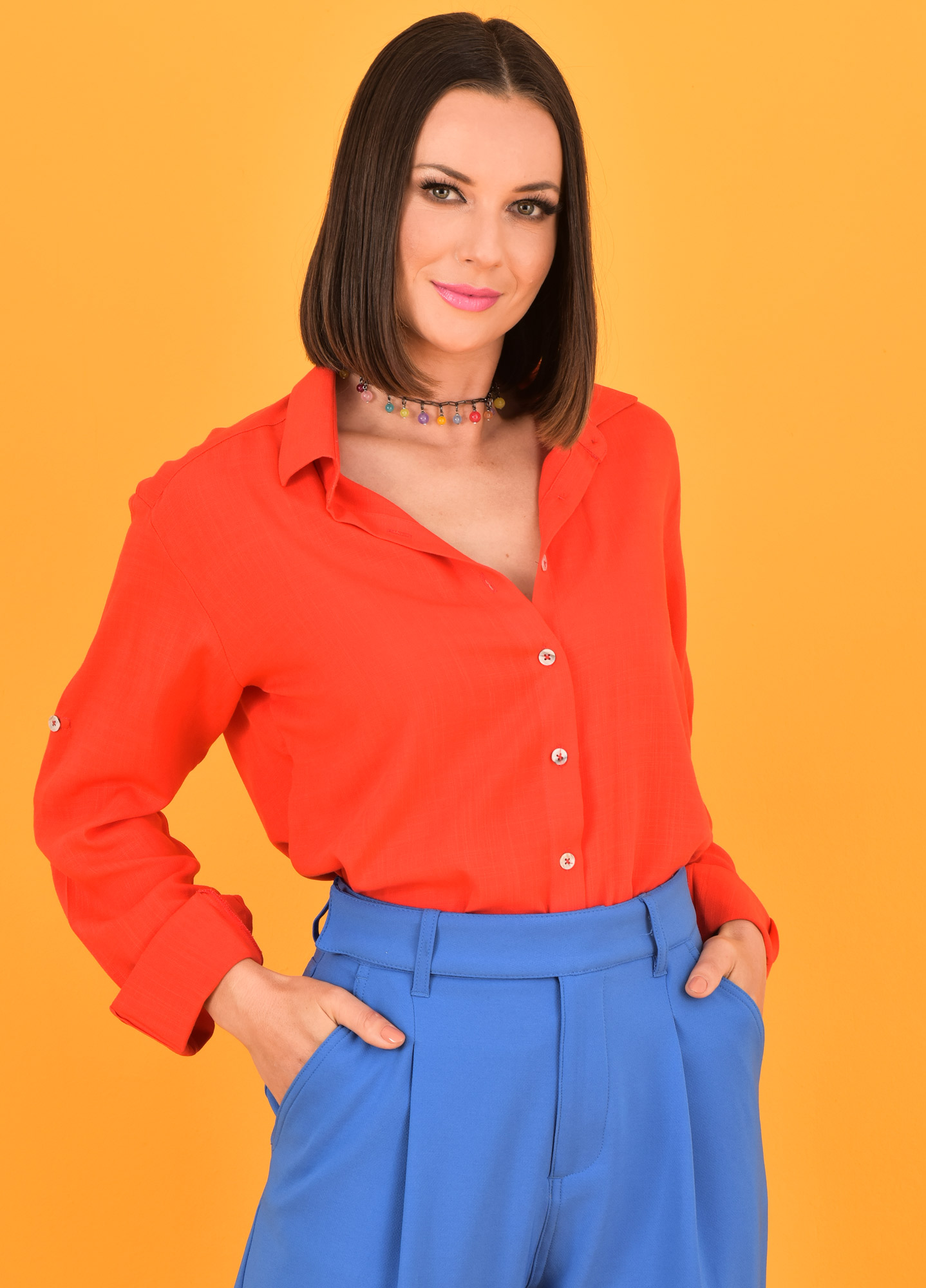 Camisa Oversized Feminina Viscolinho Vermelha