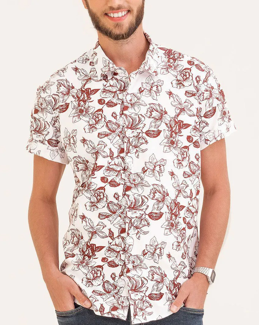 Camisa Slim Floral Sunset