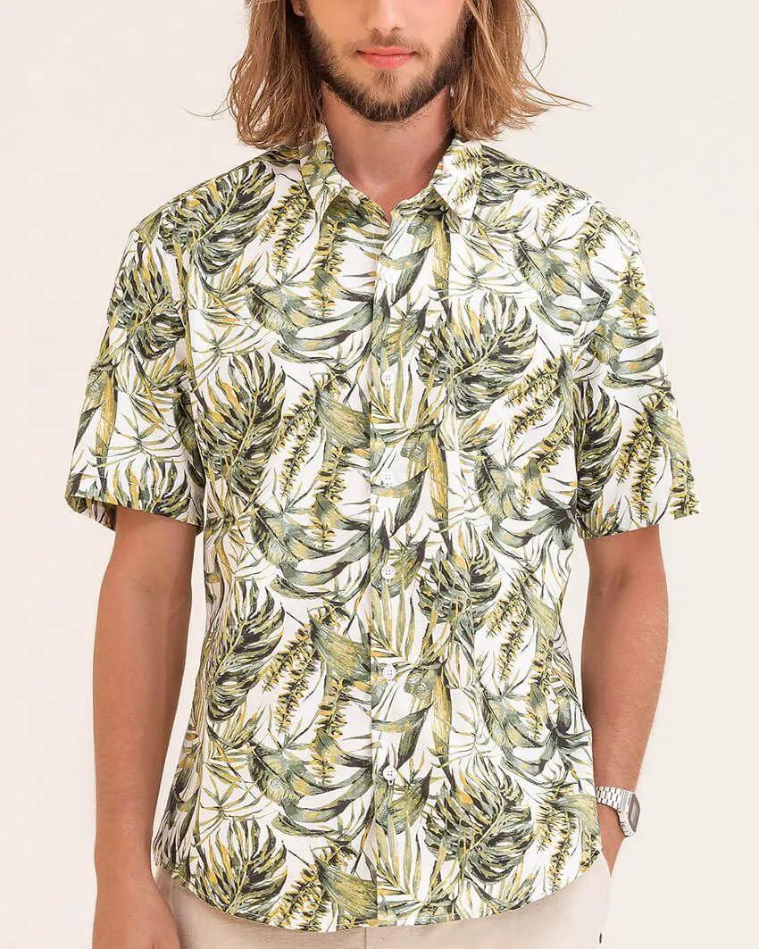 Camisa Slim Floral Verão