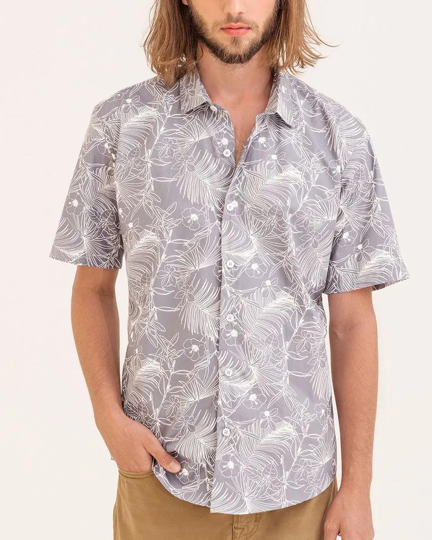 Camisa Slim Folhagem Cinza