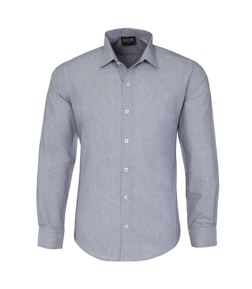 Camisa Slim Listras Finas Marinho
