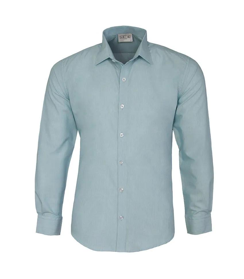 Camisa Slim Listras Finas Verde
