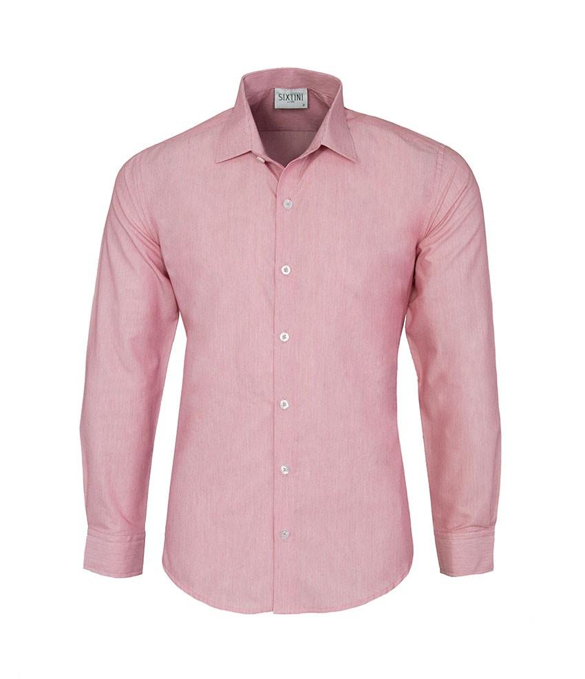 Camisa Slim Listras Finas Vermelho