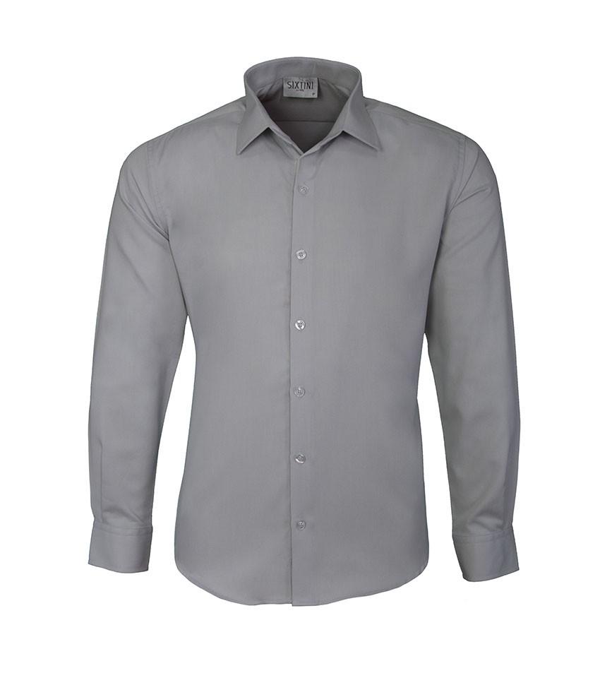 Camisa Slim Maquinetada Cinza