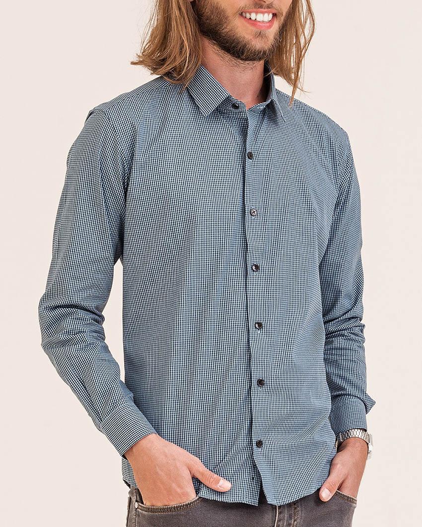 Camisa Slim Xadrez Azul Claro