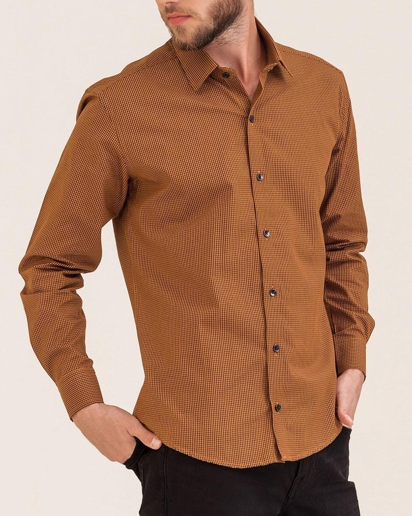Camisa Slim Xadrez Mostarda