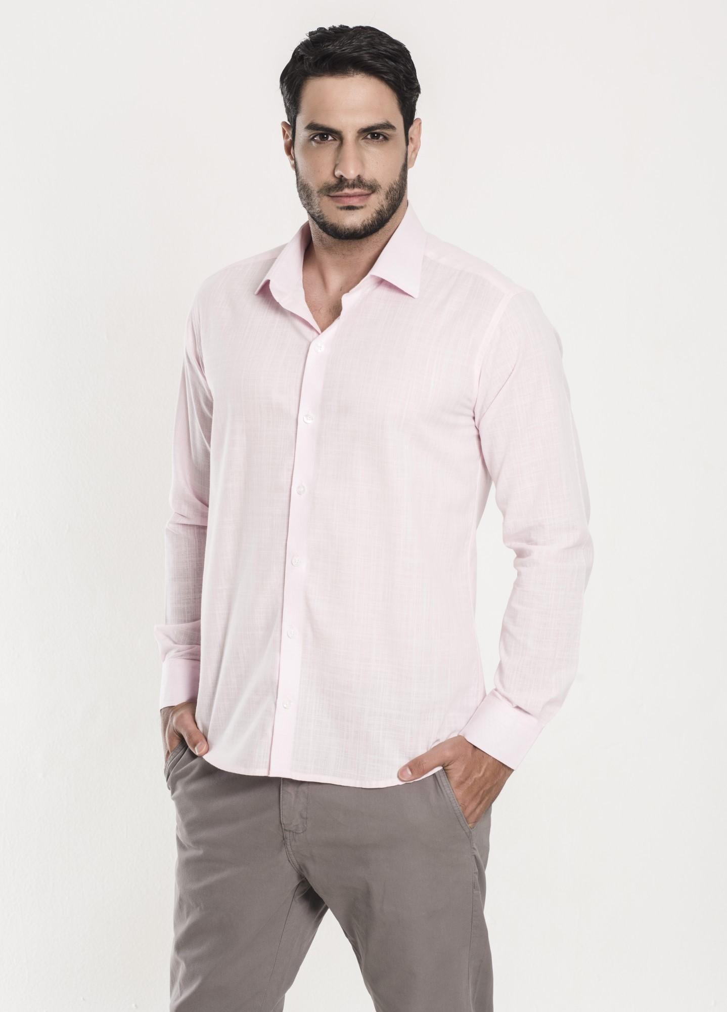 Camisa Social Slim Linho Rosa