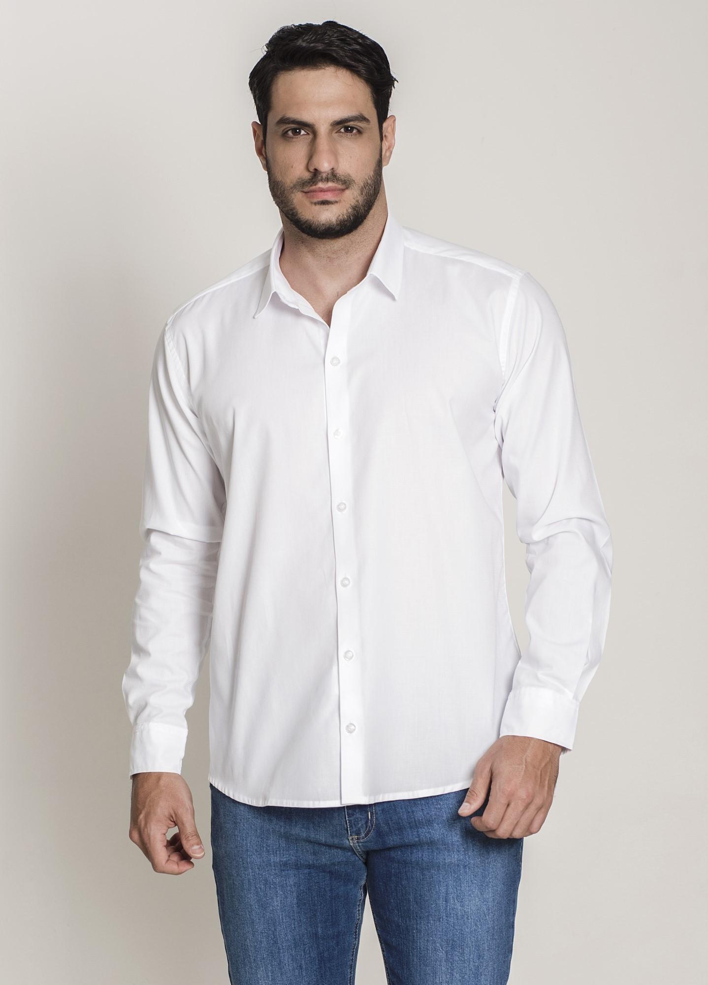Camisa Social Slim Maquinetada Branca