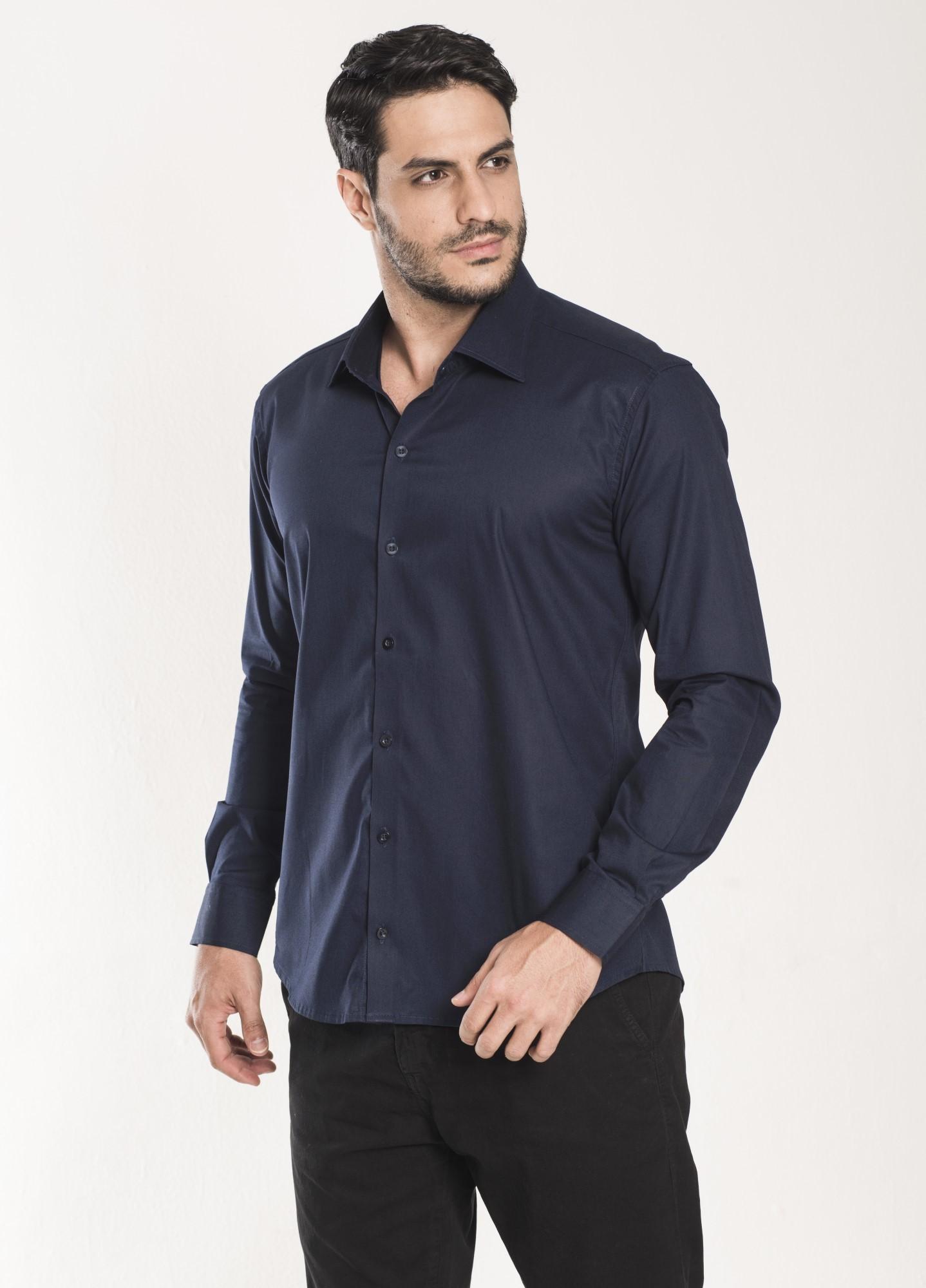 Camisa Social Slim Marinho