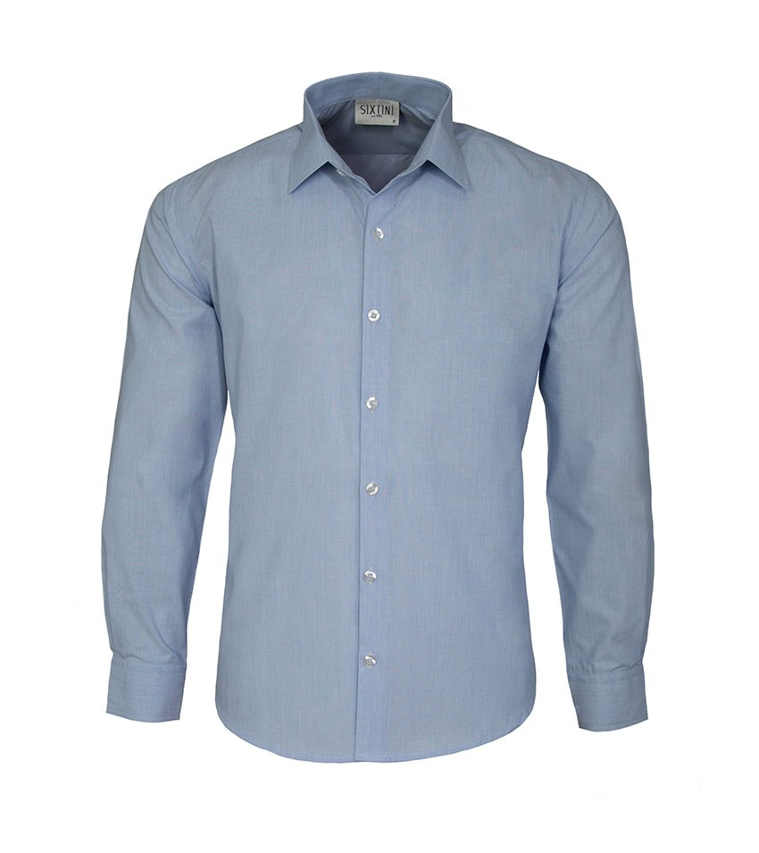 Camisa Social Slim Passa Fácil Fil a Fil Azul