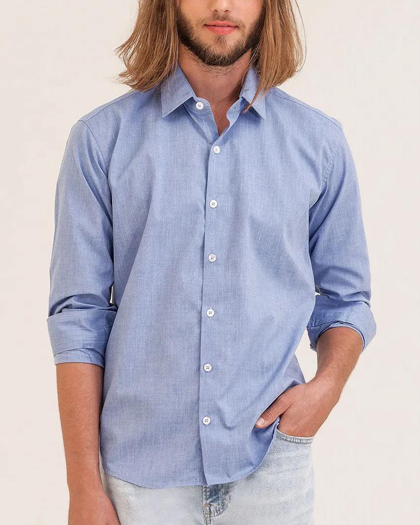 Camisa Social Slim Passa Fácil Fil a Fil Royal