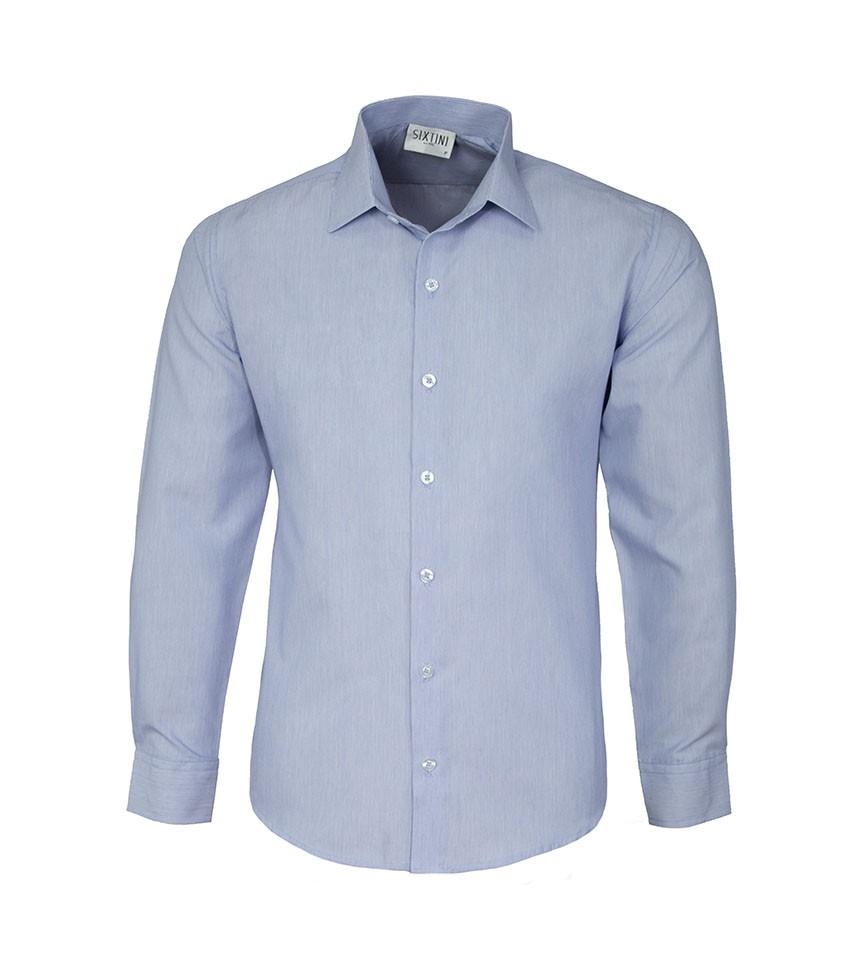 Camisa Social Slim Passa Fácil Listras Finas Azul