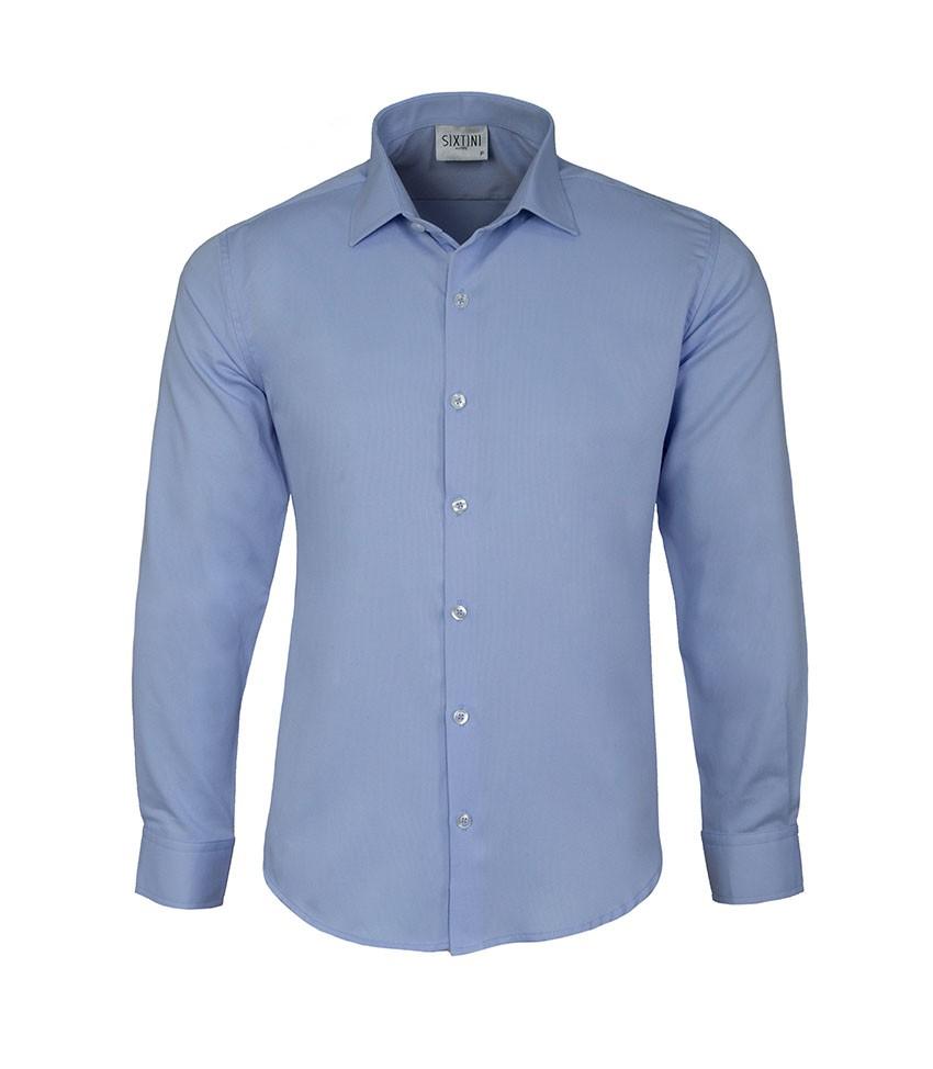 Camisa Social Slim Passa Fácil Maquinetada Azul