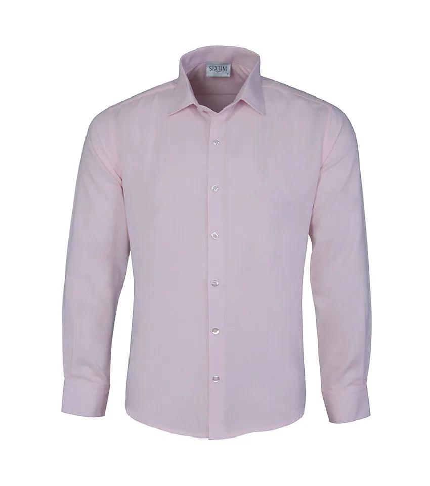 Camisa Social Slim Passa Fácil Maquinetada Rosa