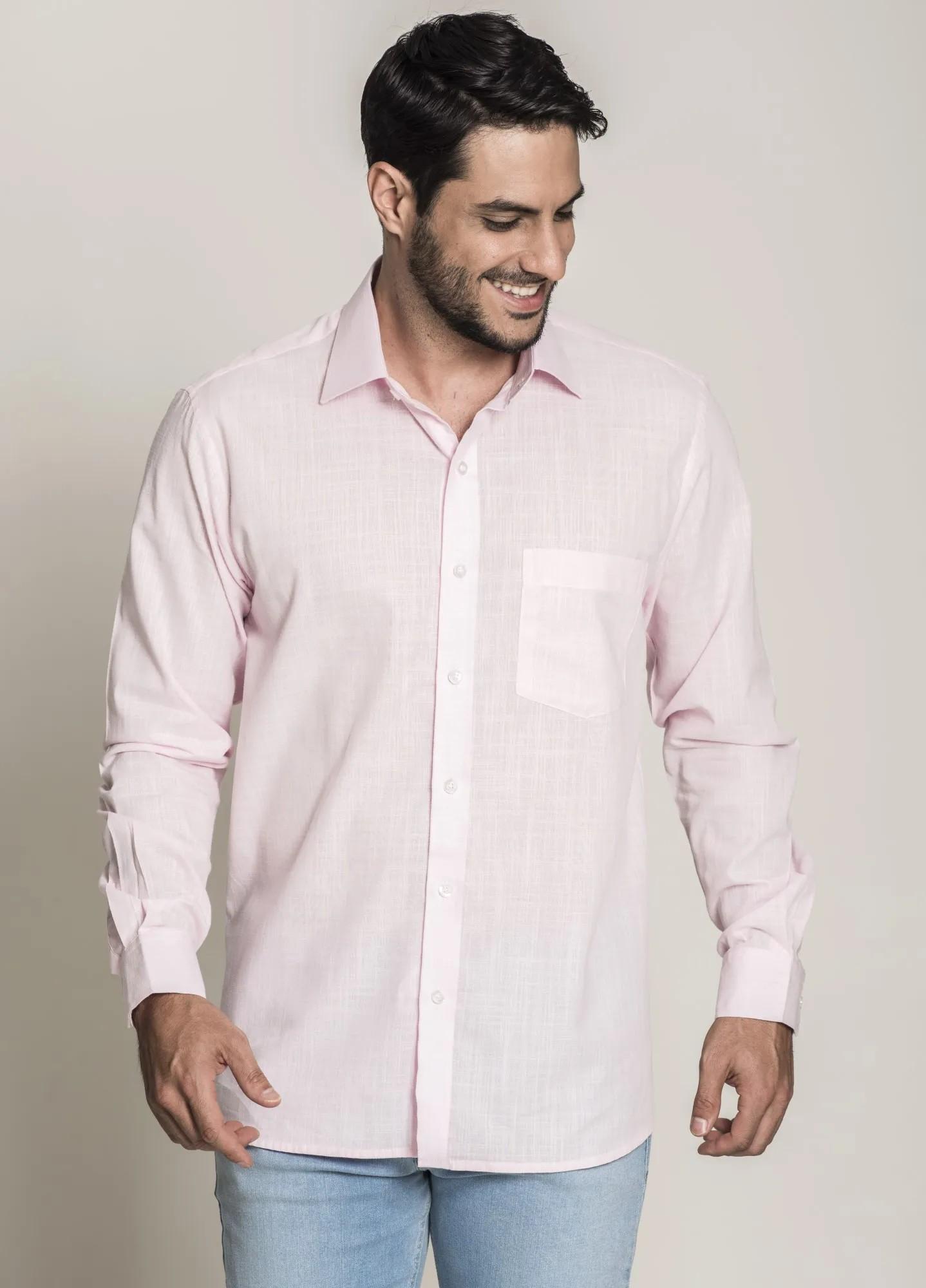 Camisa Social Tradicional Linho Rosa