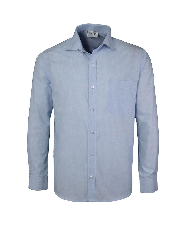 Camisa Social Tradicional Passa Fácil Fil a Fil Azul