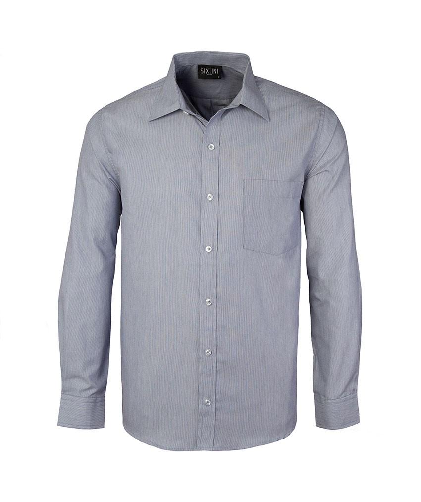 Camisa Social Tradicional Passa Fácil Listras Finas Azul