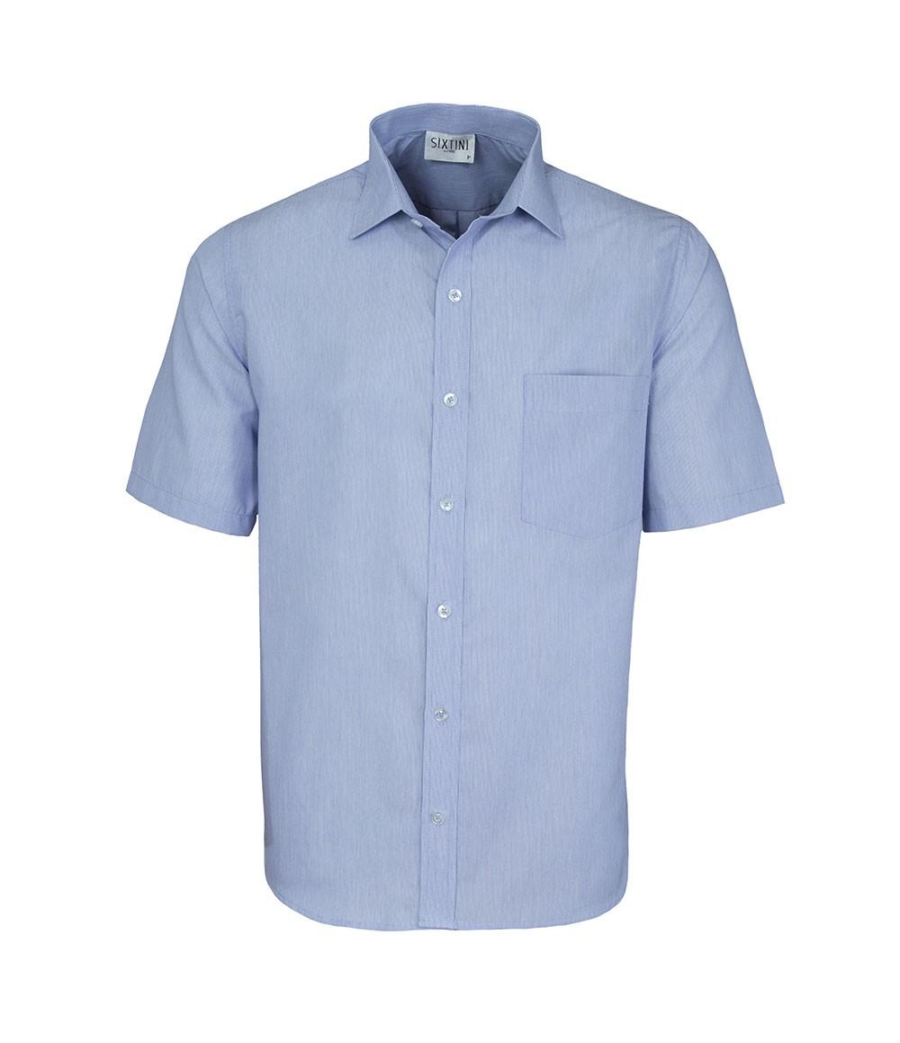 Camisa Social Tradicional Passa Fácil Listras Finas Azul Manga Curta