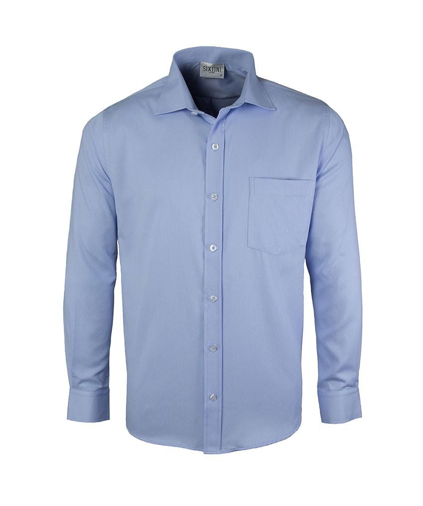 Camisa Social Tradicional Passa Fácil Maquinetada Azul