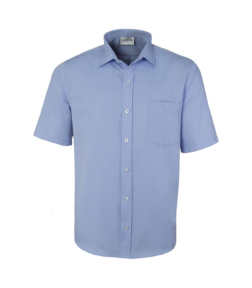 Camisa Social Tradicional Passa Fácil Maquinetada Azul Manga Curta
