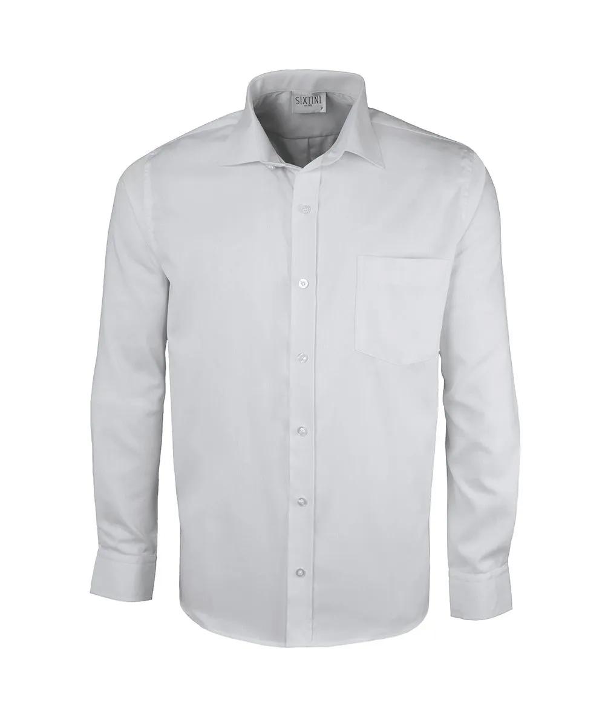 Camisa Social Tradicional Passa Fácil Maquinetada Branca