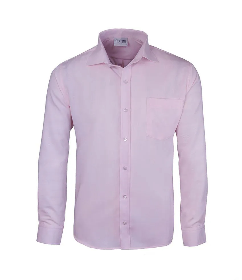 Camisa Social Tradicional Passa Fácil Maquinetada Rosa
