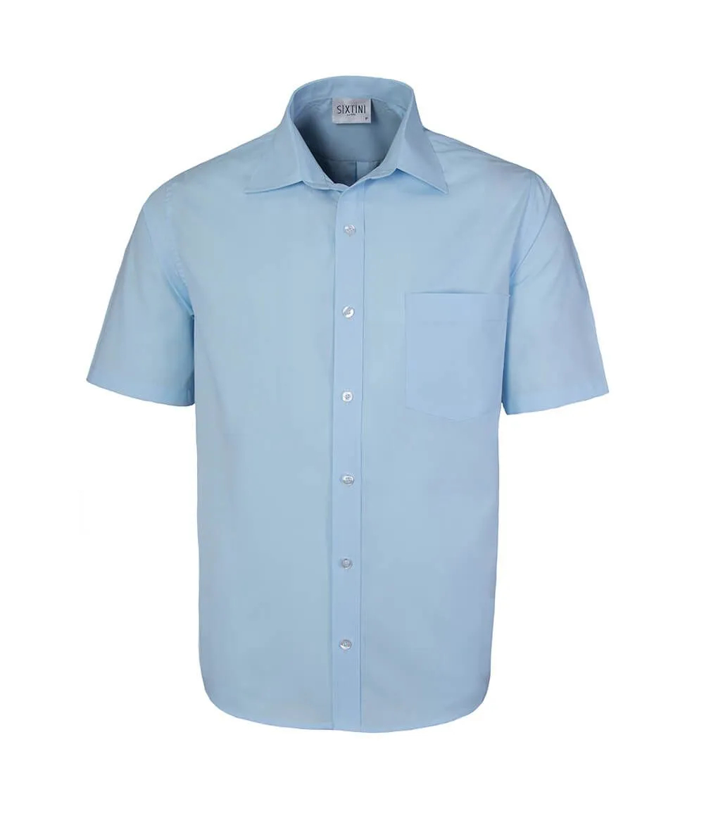 Camisa Tradicional Azul Claro Manga Curta