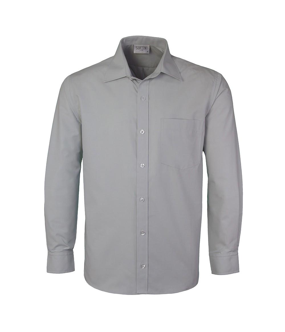 Camisa Social Tradicional Passa Fácil Cinza