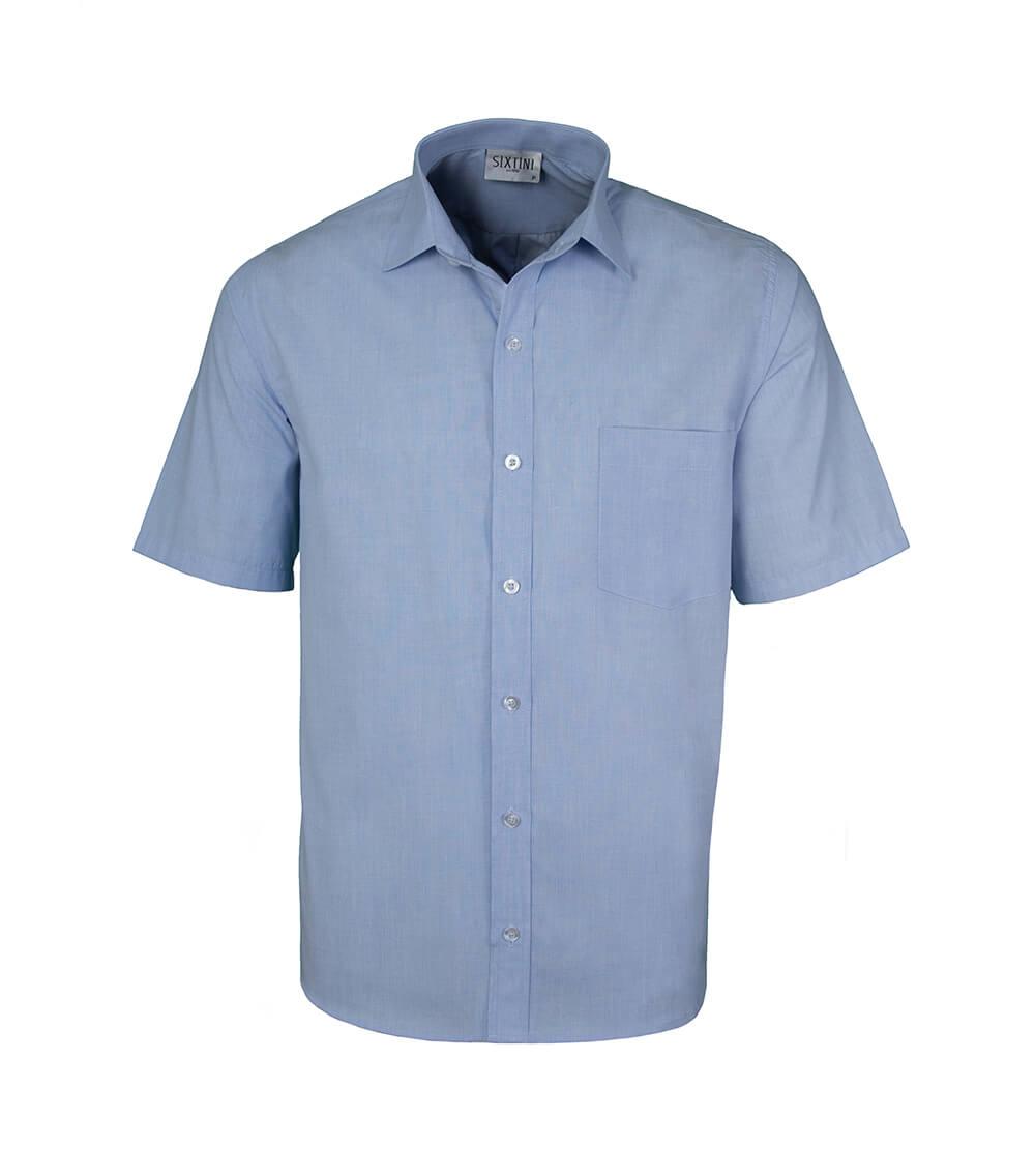 Camisa Tradicional Fil a Fil Azul Manga Curta
