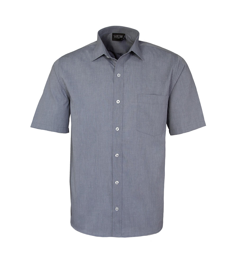 Camisa Tradicional Fil a Fil Chumbo Manga Curta