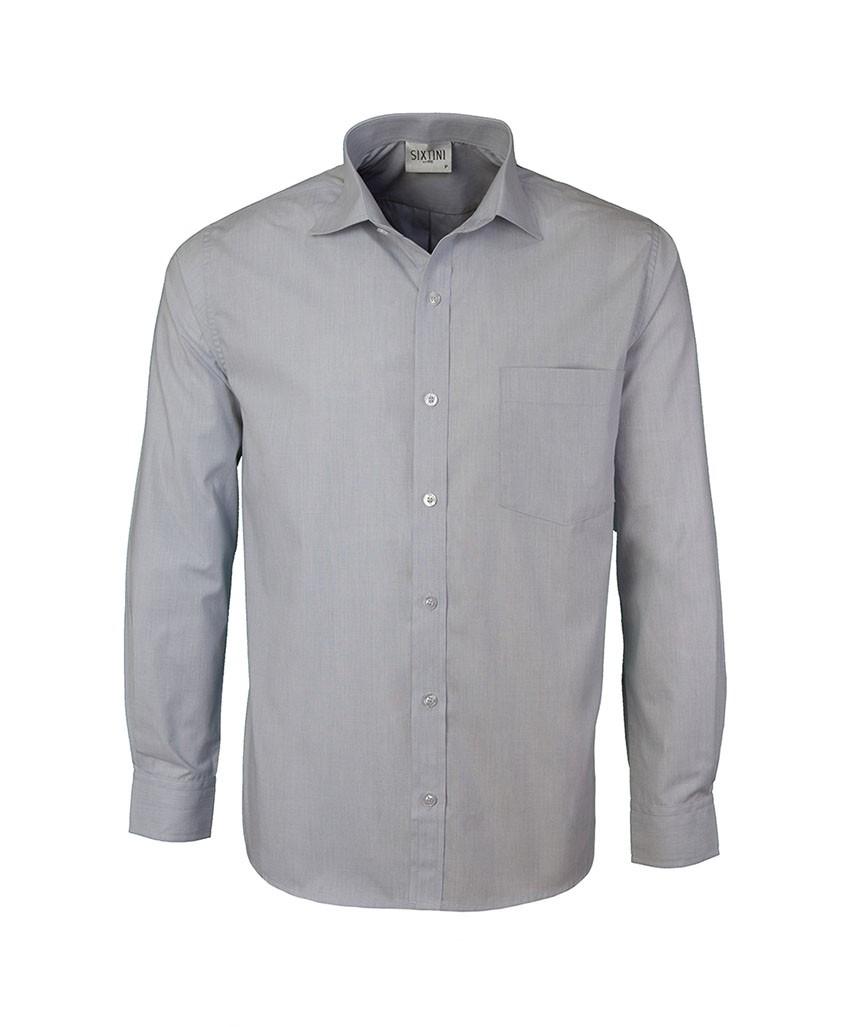 Camisa Social Tradicional Passa Fácil Fil a Fil Cinza