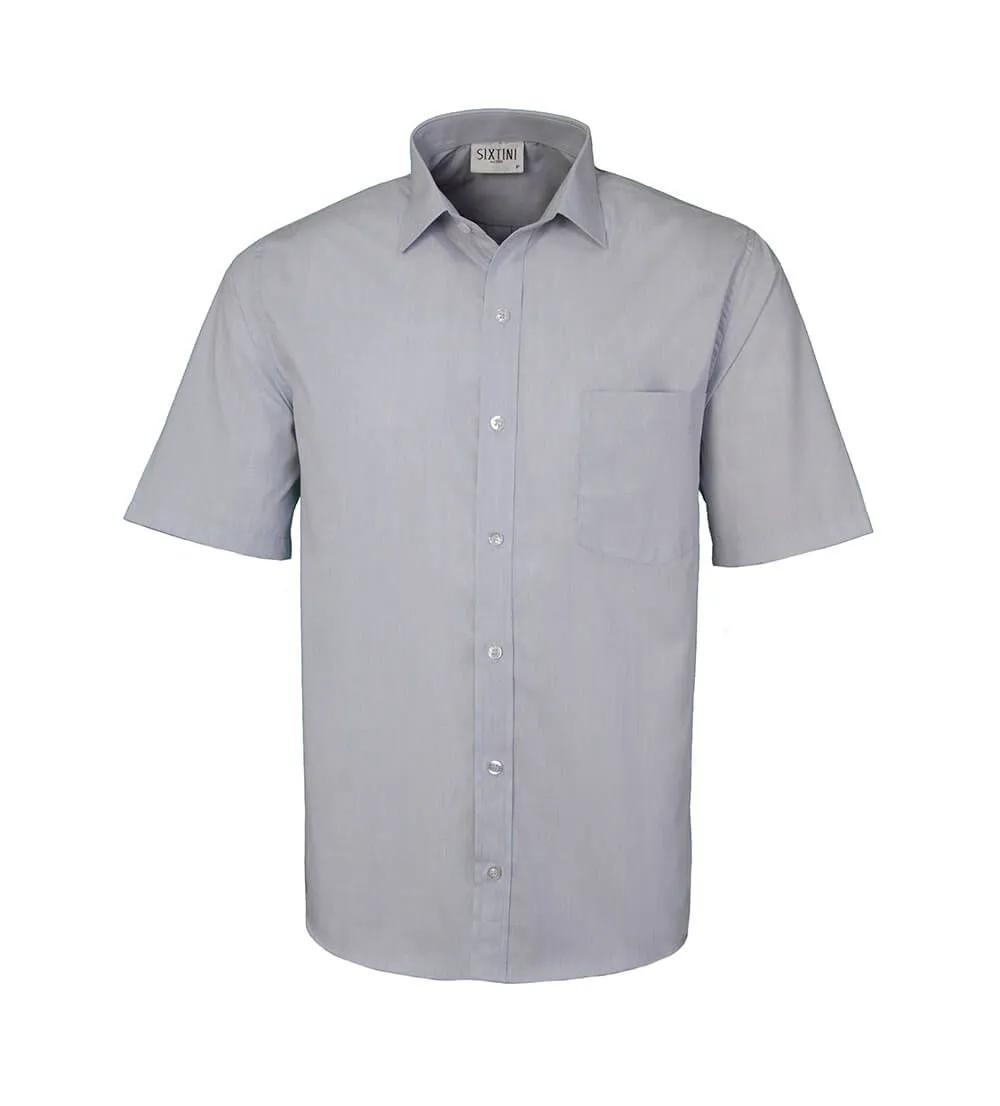 Camisa Tradicional Fil a Fil Cinza Manga Curta