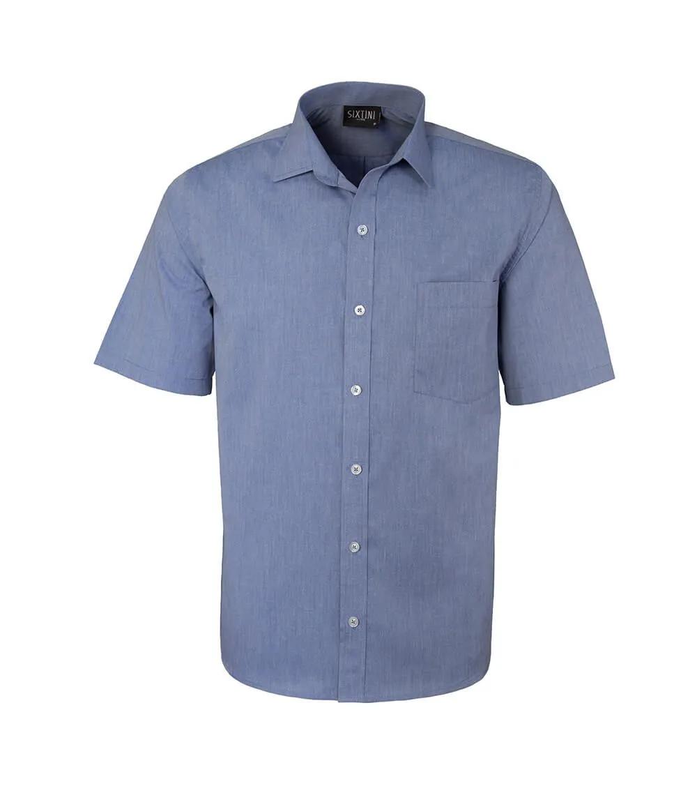 Camisa Tradicional Fil a Fil Marinho Manga Curta