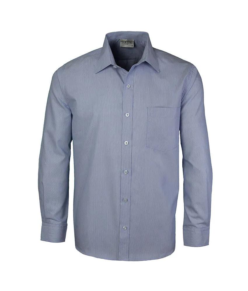 Camisa Tradicional Listras Finas Marinho
