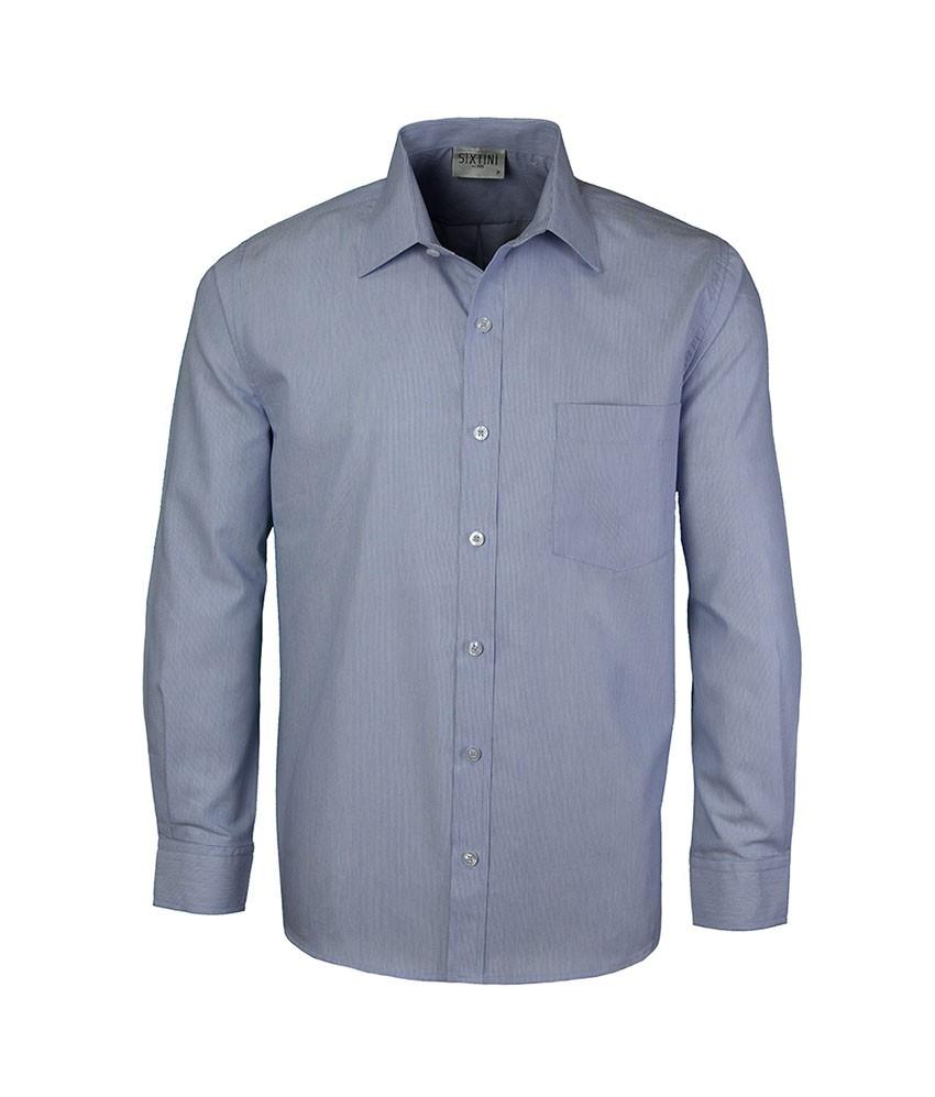 Camisa Social Tradicional Passa Fácil Listras Finas Azul Marinho