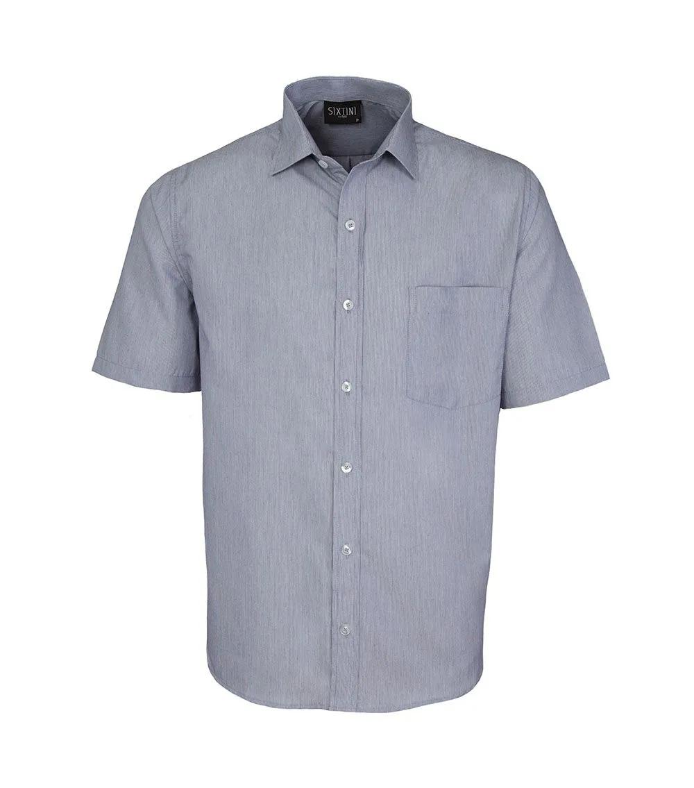 Camisa Tradicional Listras Finas Marinho Manga Curta