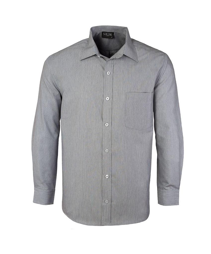 Camisa Social Tradicional Passa Fácil Listras Finas Preta