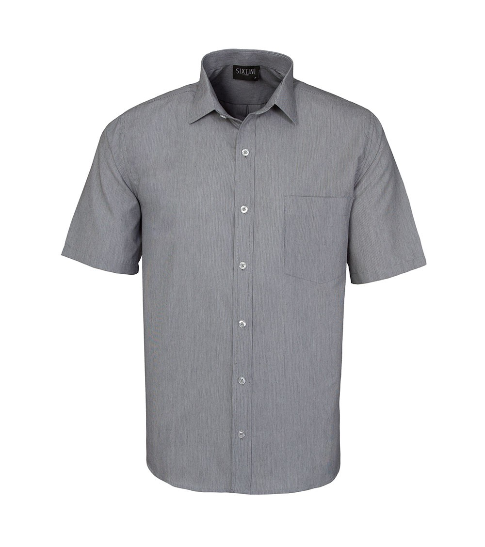 Camisa Tradicional Listras Finas Preto Manga Curta