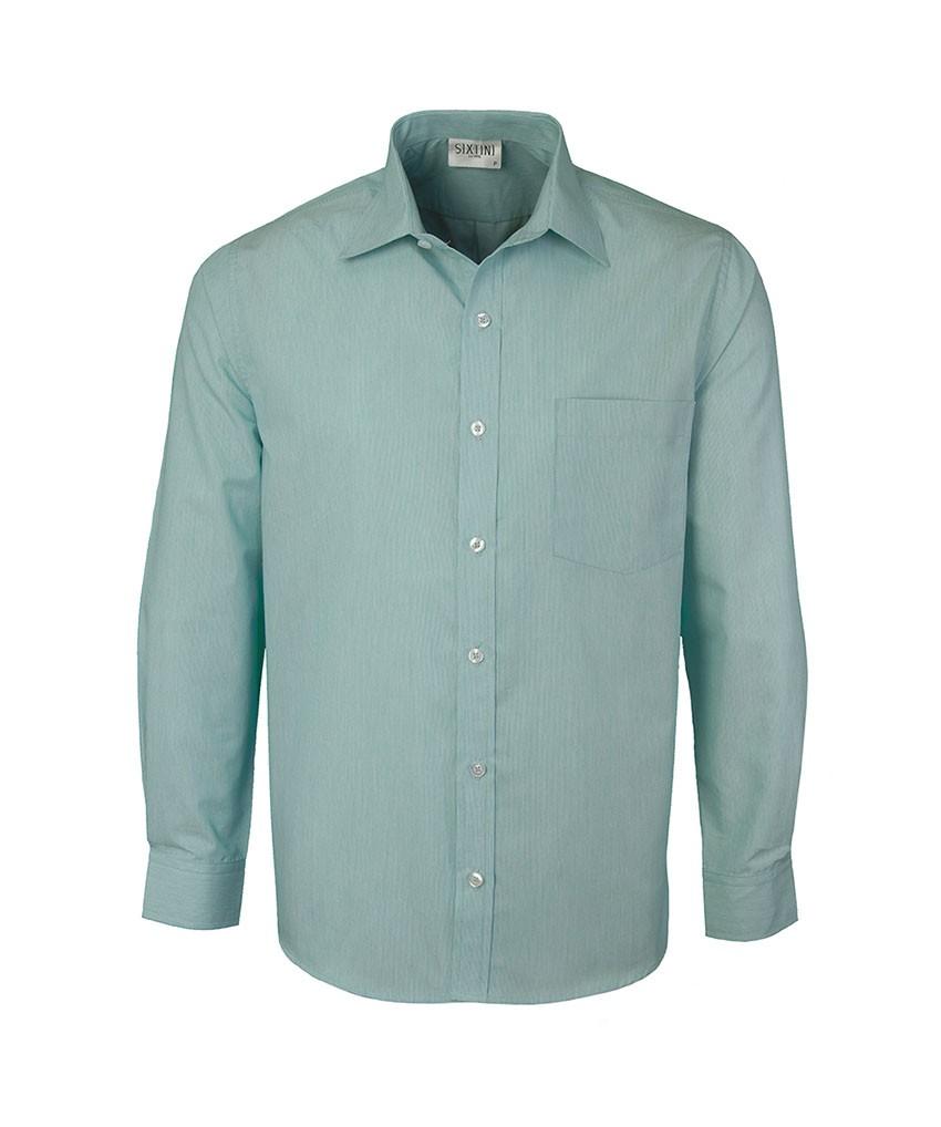 Camisa Social Tradicional Passa Fácil Listras Finas Verde