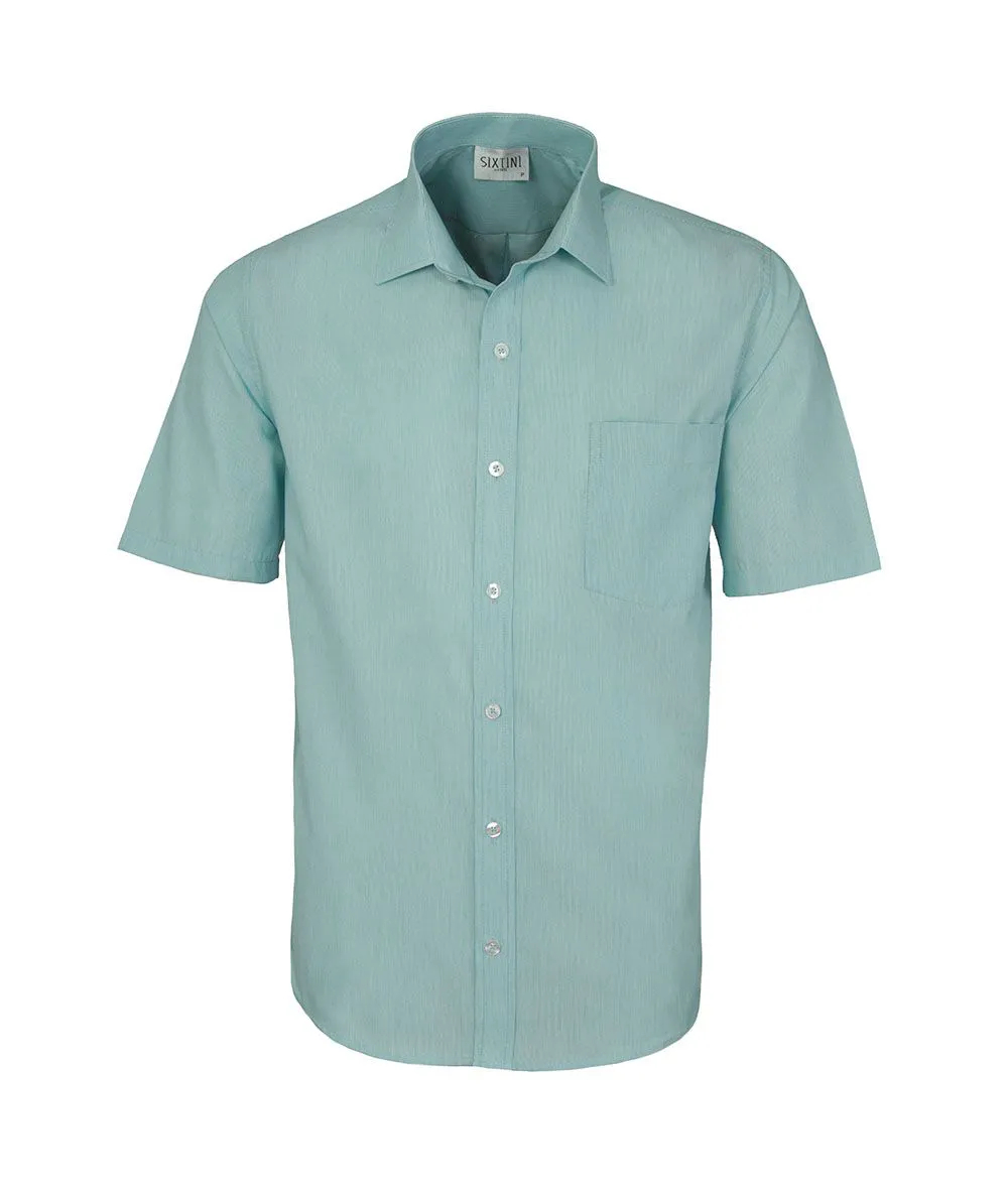 Camisa Tradicional Listras Finas Verde Manga Curta