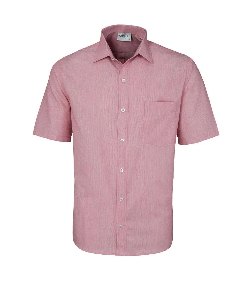 Camisa Tradicional Listras Finas Vermelho Manga Curta