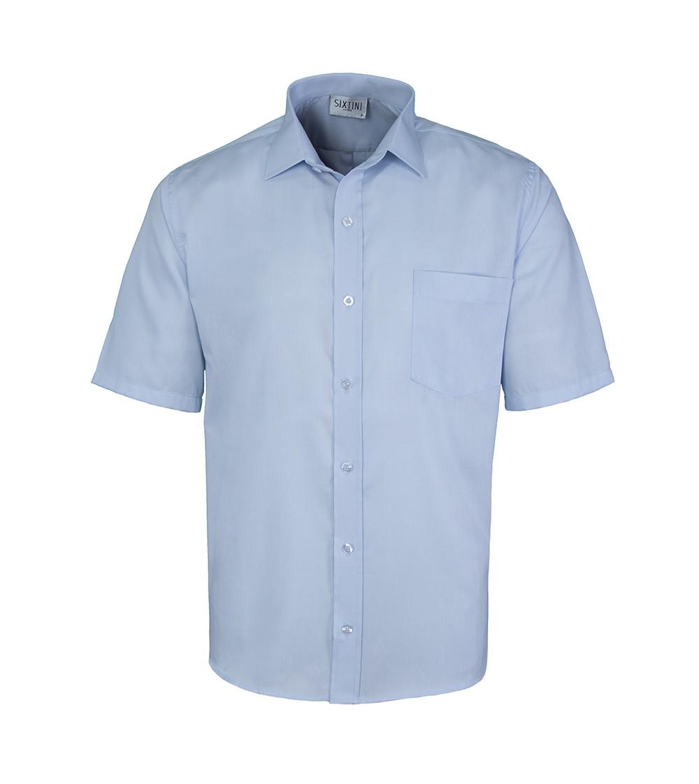 Camisa Tradicional Maquinetada Azul Claro Manga Curta