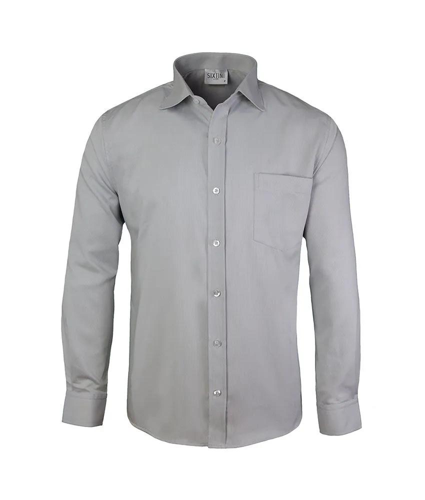 Camisa Tradicional Maquinetada Cinza